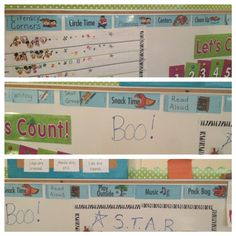 Horizontal visual schedule across the top of a low mounted white board. #sjsd www.sjsd.k12.mo.us/preschool