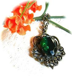 Victorian Revival Filigree Pendant Emerald Green Faceted Glass Setting | craftsofthepast - Jewelry on ArtFire