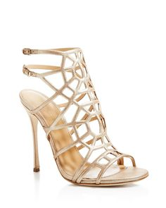 Sergio Rossi Puzzle High Heel Sandals - Sergio Rossi's signature geometric cage silhouette is sure to stun in shimmering metallic leather, balanced atop slender stiletto heels for timeless femininity.