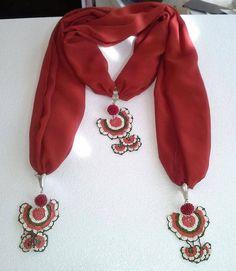 Turkish lace - Needle lace - C Potholder Patterns, Crochet Potholders, Crochet Motif, Crochet Designs, Knit Crochet, Crochet Patterns, Scarf Necklace, Scarf Jewelry, Fabric Jewelry