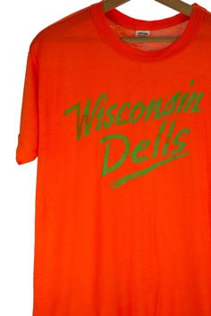 Vintage 1980's 1990's WISCONSIN Dells Neon Orange and Slime Green Paper Thin Tee…
