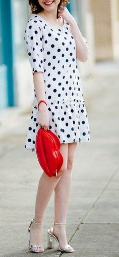 Red Lips Purse + Polka Dot Dress but with different  shoes!