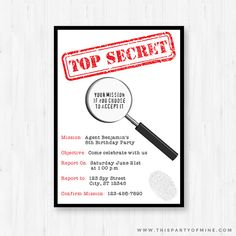 Spy Invitation - Printable Secre Agent Detective Birthday Party Invitation - Instant Download with Editable Text
