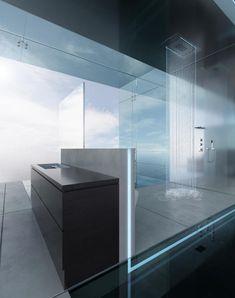 The Inspiration of 2013 Modern Bathroom: opened shower space in the glass bathroom Modern Bathrooms Interior, Contemporary Bathroom Designs, Bathroom Interior Design, Open Bathroom, Glass Bathroom, Bad Inspiration, Bathroom Inspiration, Cabin Design, House Design