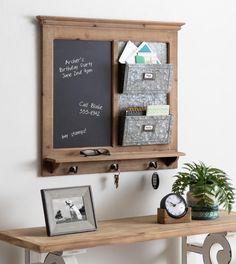 Kate and Laurel Idamae Wood Framed Chalkboard Wall Organizer, 28x25, Rustic Brown | 215280