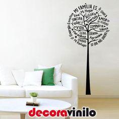 VINILO DECORATIVO PEGATINA PARED ÁRBOL MI FAMILIA AMOR FRASE 58x125cm CASA HOGAR