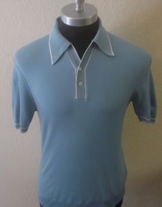 Mens Vintage 60's 50's RAT PACK Italian Knit Lounge Mob Retro MOD Polo SHIRT M