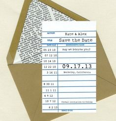 Book, Library, Literary wedding - library card - save the date - envelope lined with book pages Wedding Save The Dates, Save The Date Cards, Our Wedding, Wedding Ideas, Wedding Bells, Wedding Book, Wedding Inspiration, Wedding Things, Wedding Stuff