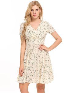 Yellow Short Sleeve Print V Neck Pullover Dress