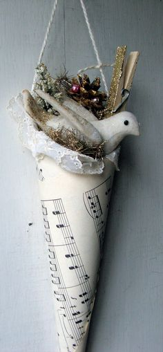 Vintage Sheet Music decorative cone   Hang these up throughout the house down the hallway for Christmas decor