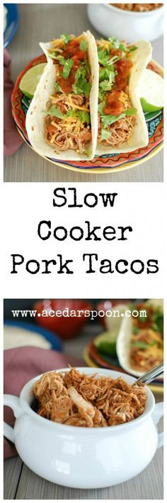 With the holidays coming up things are getting busy but dinner still has to be on the table. These Slow Cooker Shredded Pork Tacos are a simple slow cooker meal that gives you tender, flavorful pork to fill your tacos, quesadillas, tortillas or top on salads. This pork will freeze well for later too! // A Cedar Spoon