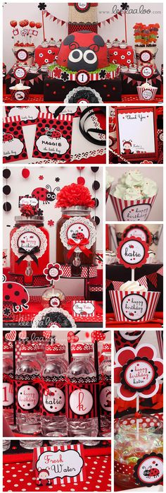 Ladybug Birthday Party printable decoration by www.leelaaloo.com