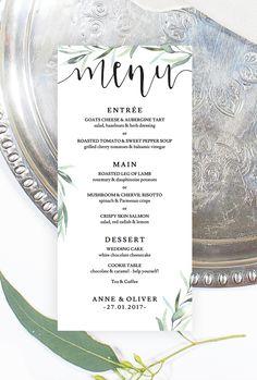 Rustic eucalyptus wedding menu by The Printable Shop www.theprintableshop.com #rusticweddingmenu #weddingmenu #rusticwedding #eucalyptuswedding #greenerywedding #botanicalwedding #leafywedding #eucalyptusweddingdecor