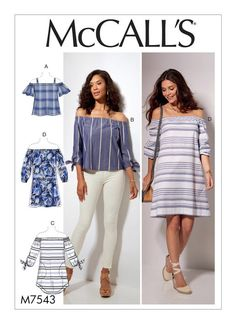 McCall's off-the-shoulder tops and dresses sewing pattern. M7543 Misses' Off-the-Shoulder Tops, Tunic and Dress
