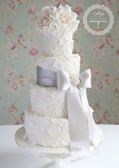 Lace & Blossoms Wedding Cake
