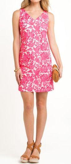 Vineyard Vines Embroidered Roses Shift Dress