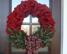 Burlap Christmas Wreath Country Christmas di MySweetSouthernHome
