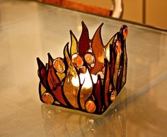 Stained Glass Candle Holder Home Décor Original gift by Levantese