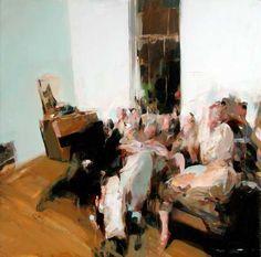 """Alex Kanevsky """"Party 1""""  24 x 24, oil on wood"""