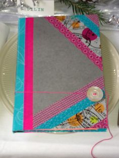 Journal made from old pamphlet binders we don't use in the library anymore and washi tape.