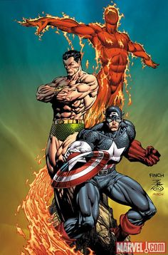 INVADERS (Submariner, Human Torch & Captain America ) - by david finch Marvel Comics Marvel Dc Comics, Marvel Comic Universe, Comics Universe, Marvel Art, Marvel Heroes, Marvel Comic Character, Comic Book Characters, Comic Book Heroes, Marvel Characters