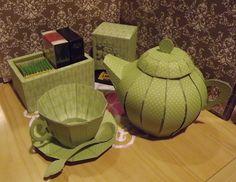 Paper crafting Teapot, cup, saucer and tea spoon, tea box and tea bag holder