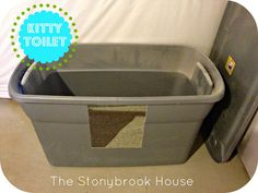 This is a follow up on my pin for the easiest way to clean a litter box.  I mentioned the great DIY giant Rubbermaid storage container litter box.  Here's a tutorial from The Stonybrook House: Life changing Kitty Toilet  {DIY Litter Box}  I'm pinning, then will add comments!  Good luck, all.