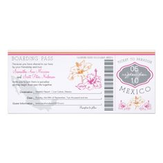 Wedding Boarding Pass to Mexico Custom Invitation Reviewtoday easy to Shops & Purchase Online - transferred directly secure and trusted checkout...