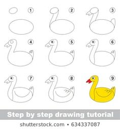Kid game to develop drawing skill with easy gaming level for preschool kids, drawing educational tutorial for Funny Farm Duck drawings funny Stock Photo and Image Portfolio by Kid_Games_Catalog Drawing Lessons For Kids, Easy Drawings For Kids, Drawing Skills, Cute Drawings, Easy Drawing Steps, Step By Step Drawing, Games For Kids, Art For Kids, Kid Games