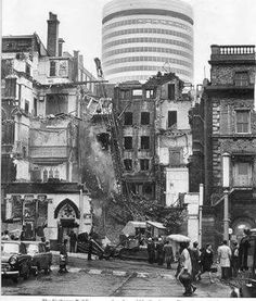 The exchange building in stephenson street being demolished, showing the Rotunda appearing.