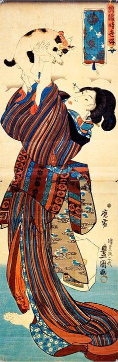 浮世絵に描かれた猫たち Japanese Drawings, Japanese Cat, Japanese Prints, Japanese Culture, Asian Cat, Hokusai, Art Asiatique, Art Et Illustration, Japanese Painting