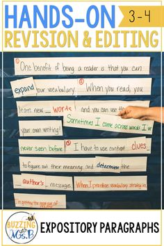 Revising and Editing in one Expository Paragraph a Week Grammar Lessons, Writing Lessons, Teaching Writing, Student Teaching, Expository Writing, Paragraph Writing, Editing Writing, Sentence Strips, Writing Anchor Charts