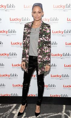 Nicole Richie wearing J Brand 5 Pocket Leather Pants in Noir Givenchy  Floral Blazer Christian Louboutin So Kate Pumps in Black Suede c56fcb281c40