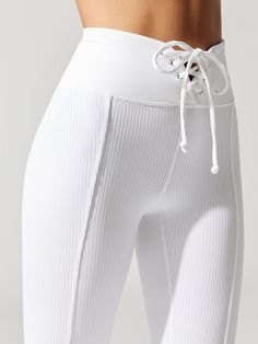 Ribbed Football Leggings in White/black by Year Of Ours from Sporty Outfits, Athletic Outfits, Cute Outfits, Fashion Outfits, Sport Fashion, Yoga Fashion, Fitness Fashion, Womens Fashion, Estilo Fitness