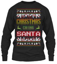 Christmas Calling Santa Black Long Sleeve T-Shirt Front
