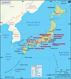 The Japan map is showing its capital, point of interest, national parks, airports, top tourist places and many more. Earthquake Map, Japan Earthquake, Nagoya, Yokohama, Kyoto, Sea Of Japan, Japan Japan, Japan News, Word Map