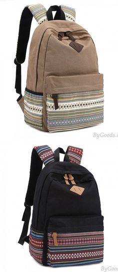 New Folk Striped College Canvas Backpack for big sale! #college #folk #backpack #Bag #school