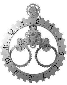 Designer Zahnrad Wanduhr Datum Invotis Big Hour Year Month silber Uhr clock in Uhren & Schmuck, Weitere Uhren, Wanduhren   eBay
