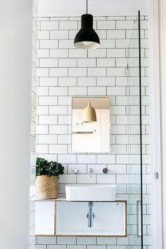 small little bathroom. white subway tile