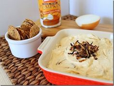 Pumpkin goat cheese dip with carmelized onions. Everything I love in one bowl.