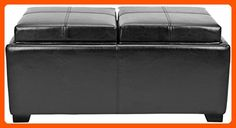 Safavieh Hudson Collection Gramercy Black Leather Double Tray Ottoman - Improve your home (*Amazon Partner-Link)