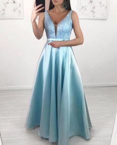 A-Line V-Neck Floor-Length Light Blue Prom Dress with Beading by olesaweddingdresses, $143.72 USD Classy Prom Dresses, Beautiful Prom Dresses, Prom Dresses Blue, Prom Party Dresses, Satin Dresses, Sexy Dresses, Evening Dresses, Fashion Dresses, Gowns