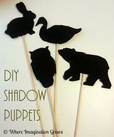 Simple DIY Shadow puppets to encourage imaginative play and explore light from Where Imagination Grows