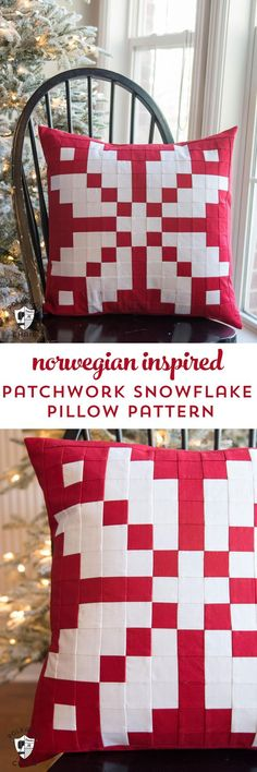 Free sewing pattern for a patchwork Norwegian knit wear inspired snowflake pattern #christmassewing #patchwork #patchworkpillow #christmaspillow #quilt #quiltedpillow #christmaspillows #diy #sewingpattern