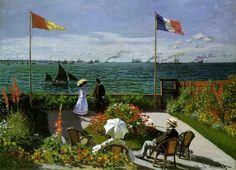Garden at Sainte-Adresse Obra de arte Artista: Claude Monet Dimensões: 98 cm x 1,3 m Material: Tinta a óleo Criação: 1867–1867 Período: Impressionismo Localização: Nova Iorque (desde 1967)