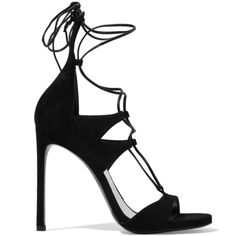 Stuart Weitzman Legwrap lace-up suede sandals ($585) ❤ liked on Polyvore featuring shoes, sandals, heels, chaussures, sapatos, black, heeled sandals, suede lace up sandals, black heel sandals and lace up high heel sandals