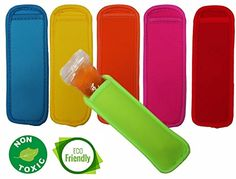 Popsicle holders - Ice Pop Sleeves - Bright Colors Neoprene Freezer Insulator For Ice Cream Bags - Pack of 6 Specialty Kitchen Tools, Popsicle Molds, 6 Pack, Kitchen Tools And Gadgets, Ice Pops, Popsicles, Bright Colors, Freezer