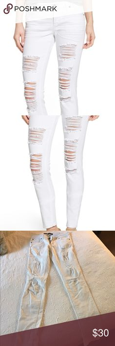 """White Nordstrom Ripped Skinny Jeans, Size 3 STS Blue """"Amy"""" Destroyed Skinny Jeans. Size 3. Blown-out holes and roughed-up edges. White skinny jeans cut from soft stretch-cotton denim. 98% cotton, 2% spandex. Five-pocket style. Zip fly with button closure. 30 1/2 inseam; 11"""" leg opening; 8 1/2"""" front rise, 13"""" back rise. Nordstrom Jeans Skinny"""