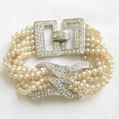 Vintage Twisted Faux Cream Pearl and Clear Ice Rhinestones Bracelet by MyVintageJewels