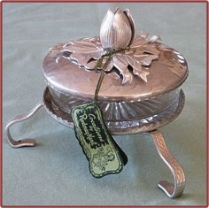 Rodney Kent Hammered Aluminum Pedestal Covered Glass Candy Dish - another great photo